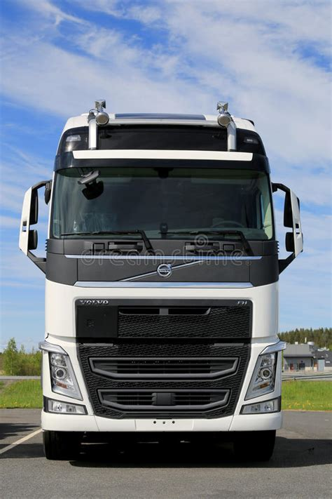 white volvo fh truck front view editorial photo image  full engine