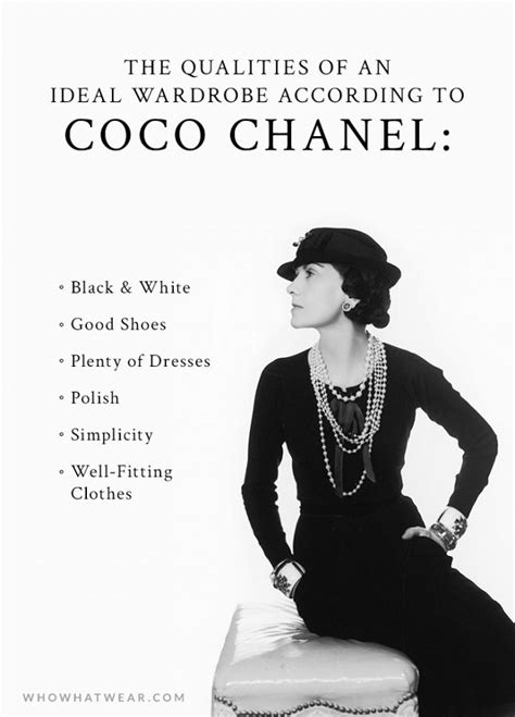 a s ideal wardrobe according to coco chanel