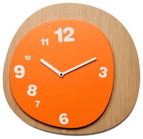 modern orange wall clock woodie light wood orange wall clock contemporary wall