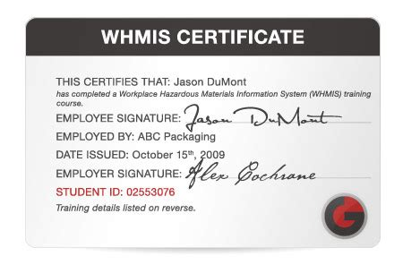 whmis certificate template whmis certificate template gallery certificate