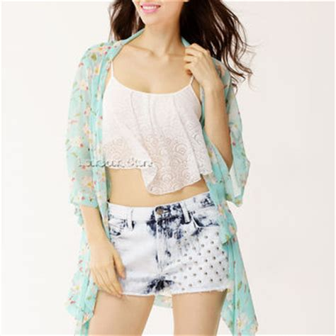 Ls5566 Flowy Kimono Sleeve Top floral flowy sheer crop sleeves from letsparty on ebay