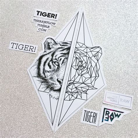 geometric tiger tattoo dotwork geometric tiger matching tattoos for or