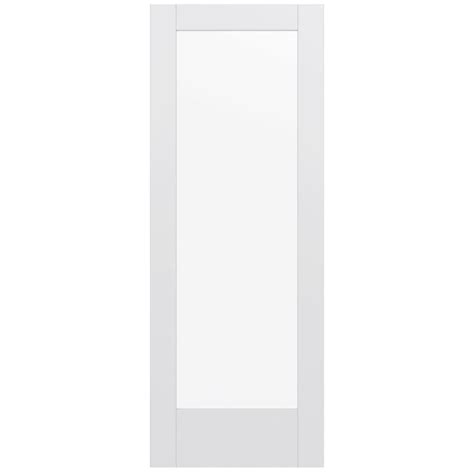 White Glass Panel Interior Doors Jeld Wen 32 In X 80 In Moda Primed White 1 Lite Solid Wood Interior Door Slab With Clear