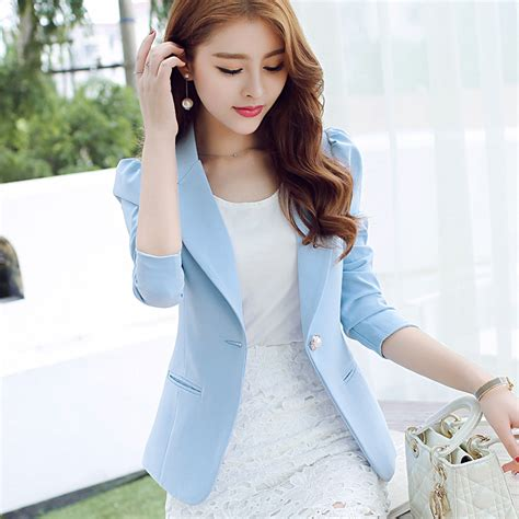 Blazer Korea Black Style 3 blazer 2017 sleeved slim blazer mujer office