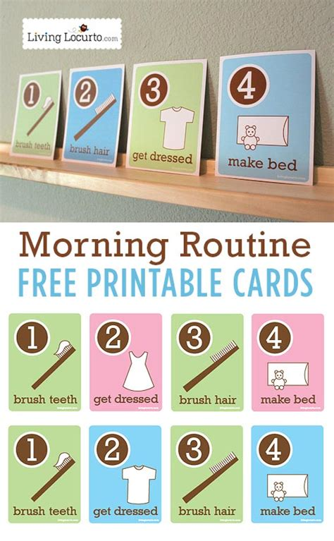 cards for school kid s morning routine flash cards free printables