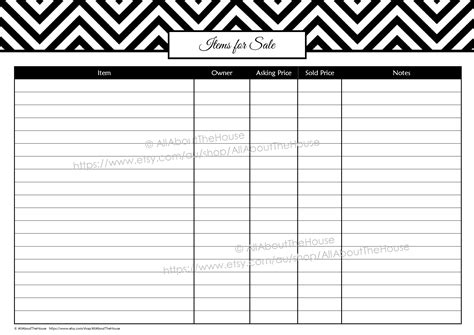 yard sale supply checklist free garage sale planner allaboutthehouse printables