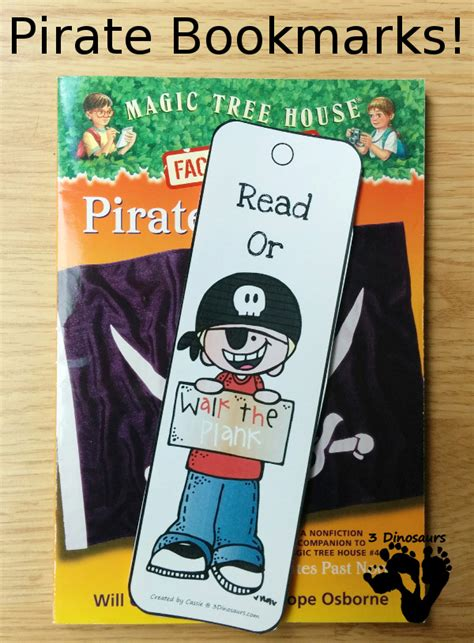 printable pirate bookmarks pirate bookmarks free 3 dinosaurs