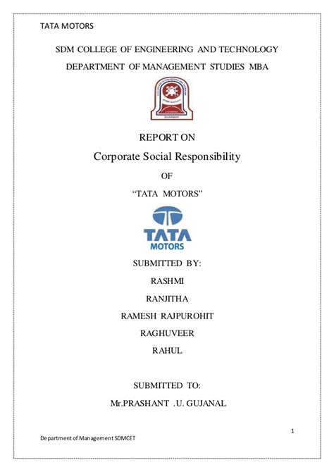 Tata Mba College by Tata Motors Csr Report 2015 2016