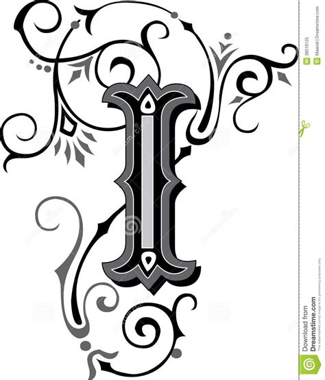 beautiful ornament letter i royalty free stock photo