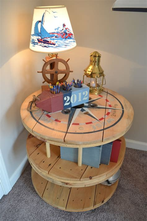 nautical wooden spool table bookcase etsy pallets