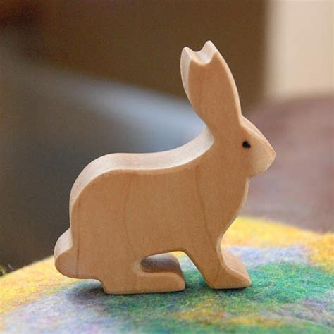 Handmade Animals - carved wooden rabbit bunny jackrabbit handmade animal