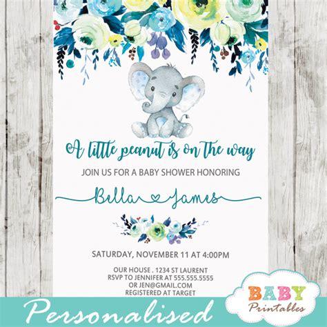 Baby Shower Invitations Elephant by Elephant Baby Shower Invitations Boy Floral Teal Blue