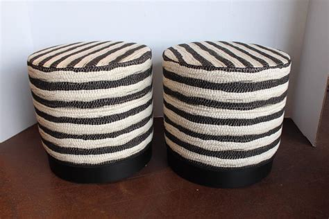 black and white striped ottoman black and white stripe ottomans for sale at 1stdibs
