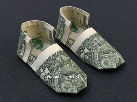 Origami Boot Dollar Bill - shoes money origami clothing shoe made of real dollar
