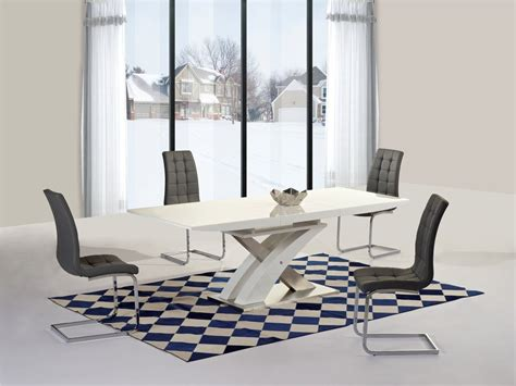 White High Gloss Glass Extending Dining Table 6 Chairs High Gloss Dining Table Sets