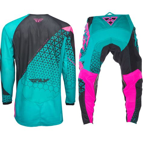 pink motocross gear fly racing mx kinetic mesh trifecta dirt bike teal