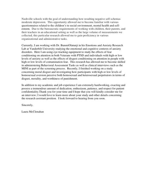 Cover Letter Research Assistant Neuroscience by Center For Research On Health Disparities Cover Letter