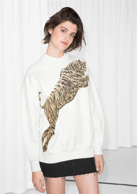 other stories boat neck sweater other stories tiger sweater in white i want to wear