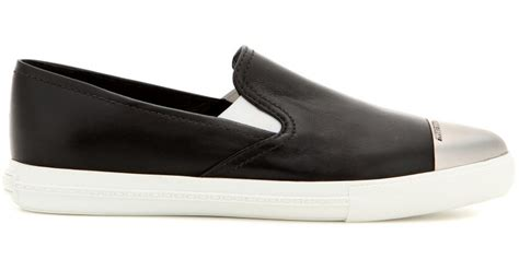 Sneaker Slip On Miu Miu 7346 lyst miu miu leather slip on sneakers in black