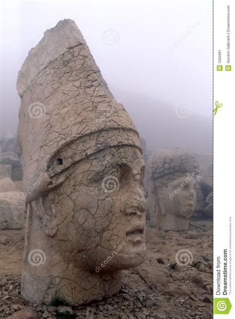 colossal stone heads stock image image