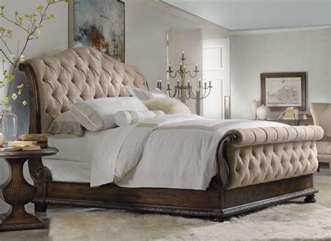 rhapsody beige tufted sleigh bedroom set  hooker coleman furniture