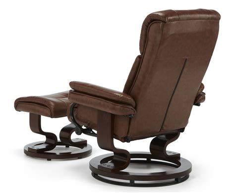 recliner chair with stool spencer chestnut brown faux leather recliner chair just