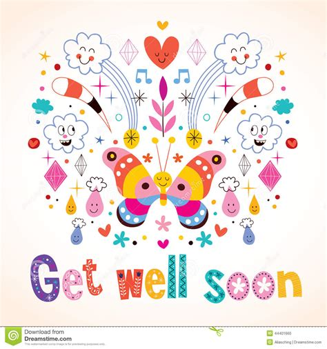 greeting cards word templates get well get well soon greeting card stock vector illustration of