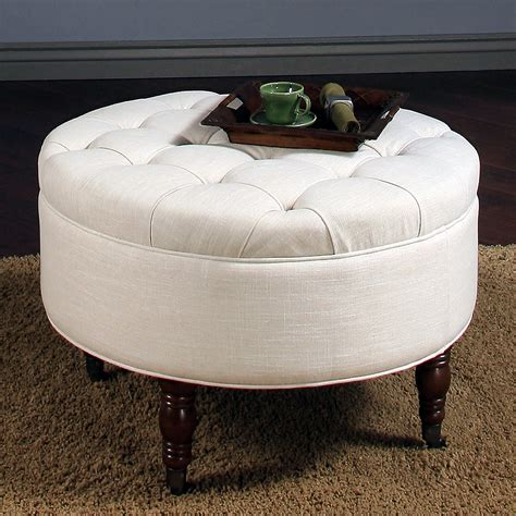 abbyson living ottoman abbyson living avernce round tufted ottoman white