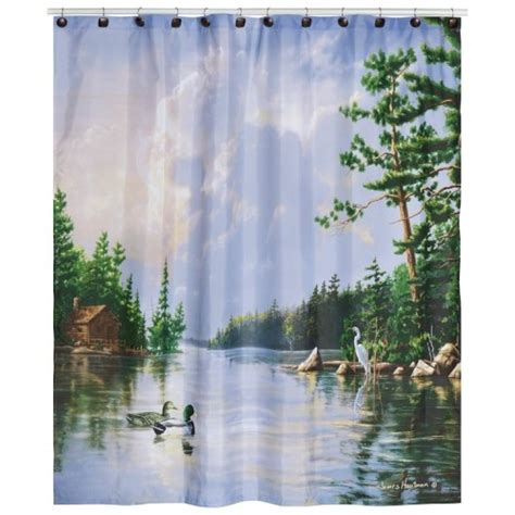 cabin themed shower curtains lakeside wildlife shower curtain cabin fever pinterest