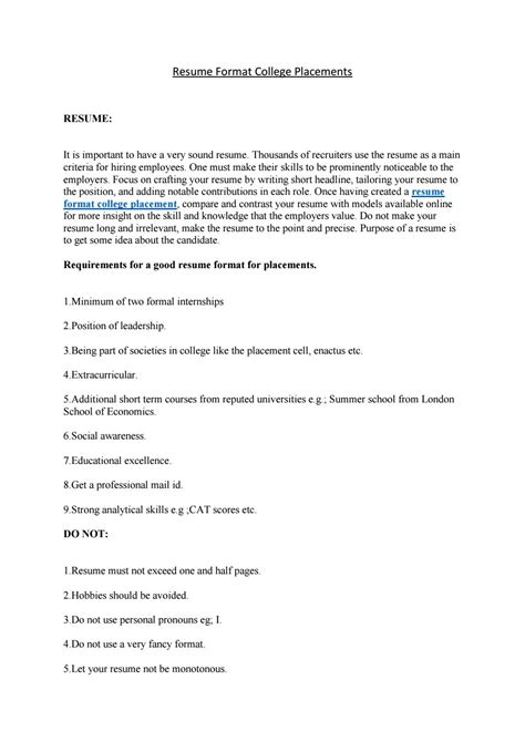 Resume Placement by Resume For Placement In College Resume For College