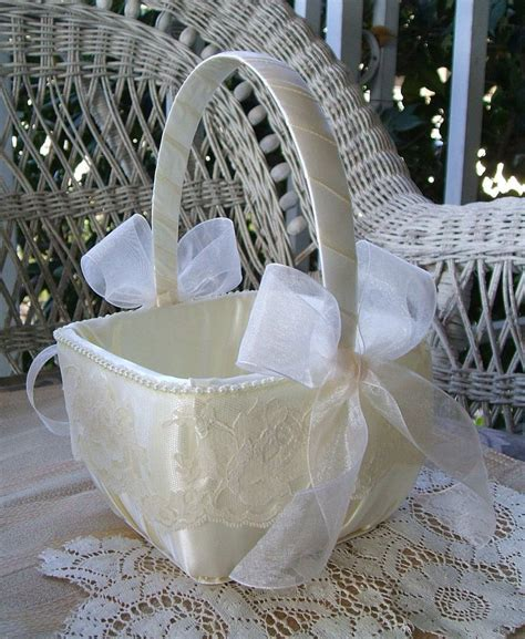 Handmade Flower Baskets - flower basket square wedding handmade organza