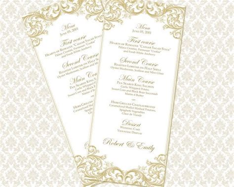 diy wedding menu template diy printable wedding menu template tea length by