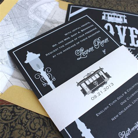New Orleans Wedding Invitations modern streetcar wedding invitation white ink new orleans