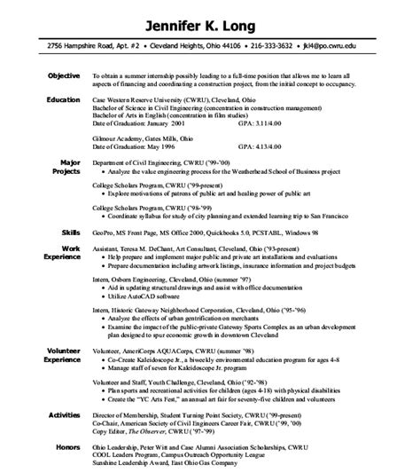 sle internship resumes intern resume sle chemical engineering 28 images