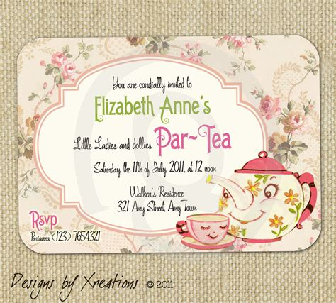 tea invitations free template items similar to vintage tea invitation digital