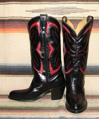 womens vintage sheplers black leather inlay cowboy