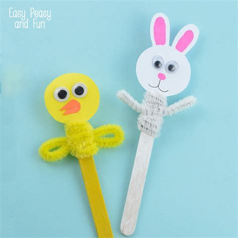 Decorating Eggs easter craft stick puppets easy peasy and fun