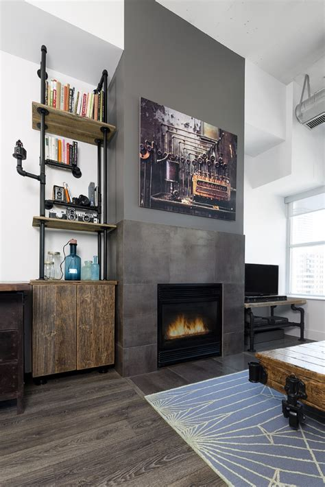 charming Gray And White Room #4: renovated-toronto-loft-fireplace-after.jpg