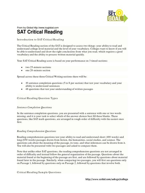 sat critical reading section sat critical reading sat reading process