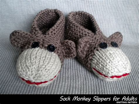 sock monkey house shoes sock monkey slippers for adults knitting pattern on luulla