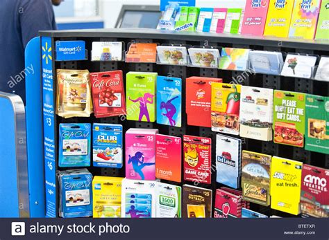 Gift Card Storage - large selection of gift cards on display at wal mart store in austin stock photo