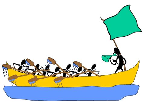 cartoon rowing boat management the management rowing race