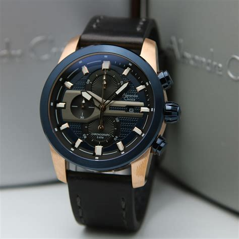 jam tangan pria alexandre christie  rosegold blue