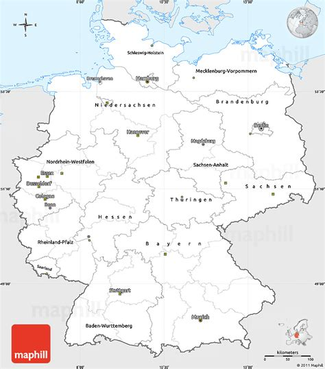 germany map printable silver style simple map of germany single color outside