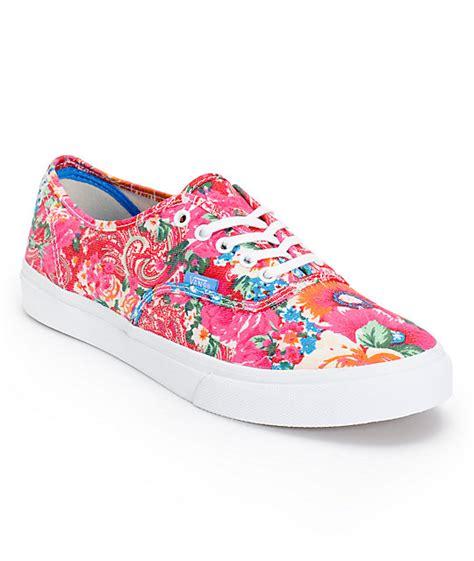 vans authentic slim pink white floral print shoes