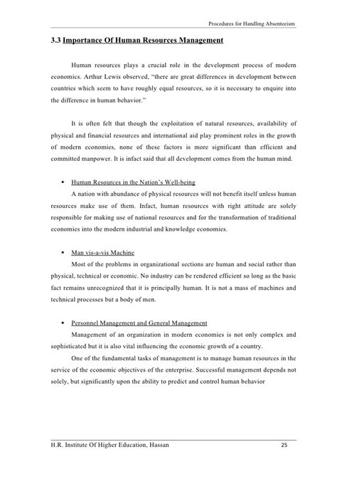 My Studies Review Global Engineer a study on procedures for handling absenteeism conducted