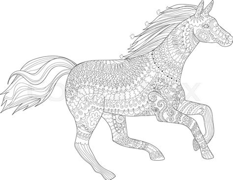 zentangle horse coloring page adult coloring page for antistress art therapy running