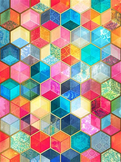 honeycomb pattern art crystal bohemian honeycomb cubes colorful hexagon
