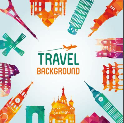 ppt templates free download travel classic buildings with travel background vector 01 over