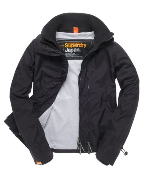 Jaket Windcheater City 1 mens technical windcheater in black white superdry